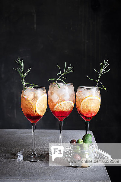 Aperol Spritz with olives