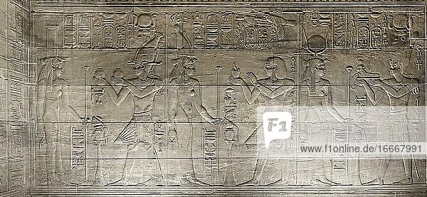 Reliefs in the inner sanctuary  Philae temple  Aswan  Egypt  Africa
