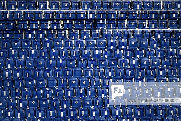 Empty rows of seats in the stadium  PreZero Arena  Geisterspiel  Sinsheim-Hoffenheim  Baden-Württemberg  Germany  Europe