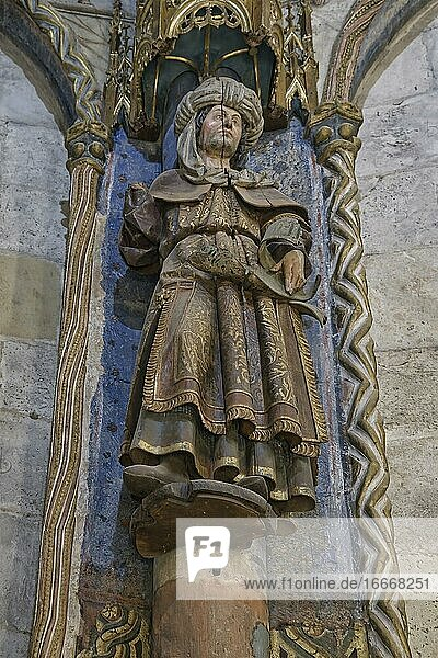 Charola  Sculpture  Templar round Church  Castle and Convent of the Order of Christ  Tomar  Santarem district  Portugal  Europe