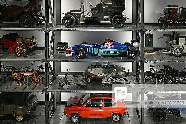 High-bay warehouse with historic vehicles  Museum of Transport Lucerne  Switzerland  Europe