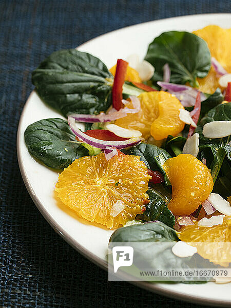 Tatsoi  Orange and Mandarine Salad