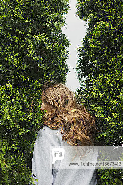 back view of young woman standing between cypresses