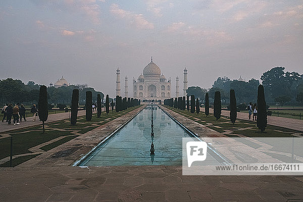 Taj Mahal reflection at sunrise as seen from Char Bagh pool  Agra  India