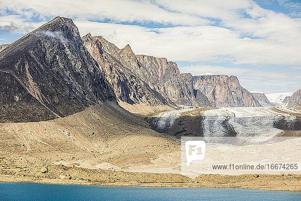 Retreating glacier  Akshayak Pass  Baffin Island