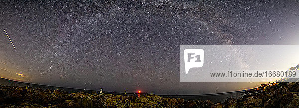 Milkyway panorama along the rocky coastline with lighthouses below.