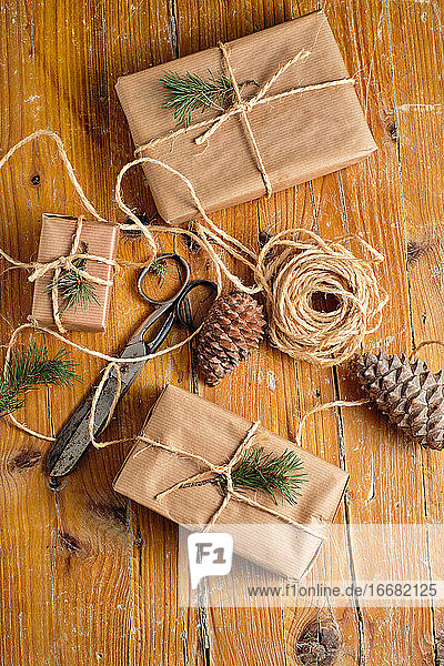 Handmade gifts from craft paper and tied with rope