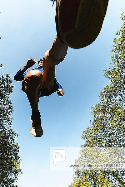 Sport Man Running Above The Camera