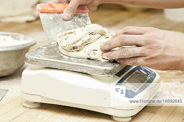 baker scaling dough in the process of baking bread