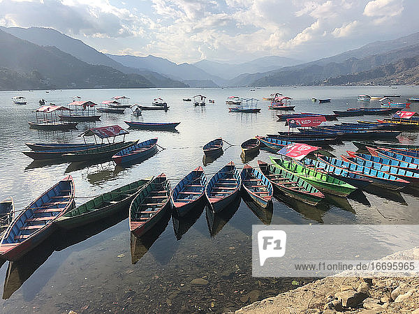 Colorful Canoes on the Lake with Mountains  Pokhara Nepal