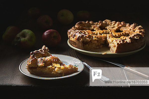 Rustic still life with apple pie