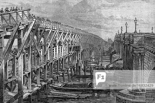 Temporary bridge over the Thames river at Blackfriars  London  England  1864. Antique illustration. 1867.