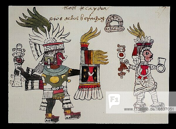 Tlaltecayouatl book at Codex Tudela  16th-century Aztec codex. Museum of the Americas  Madrid  Spain.