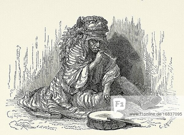 Korean lion  street artist  Japan. Old 19th century engraved illustration Travel to Japan by Aime Humbert from El Mundo en La Mano 1879.