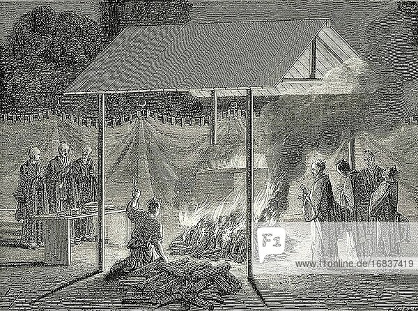 Cremation  funeral ceremonies  Japan. Old 19th century engraved illustration Travel to Japan by Aime Humbert from El Mundo en La Mano 1879.