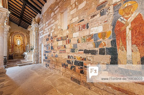 Frescoed bricks used to build a wall in Santa Maria a Cerrate Abbey  Province of Lecce  Salento  Puglia  Italy.