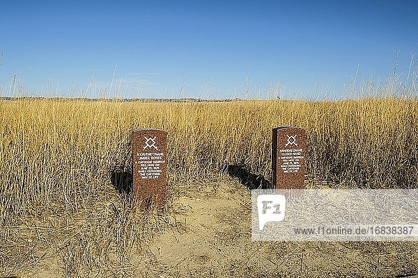 Cheyenne warrior headstones. Little Bighorn Battlefield National Monument. Crow Agency  Montana  U. S. A.   North America.