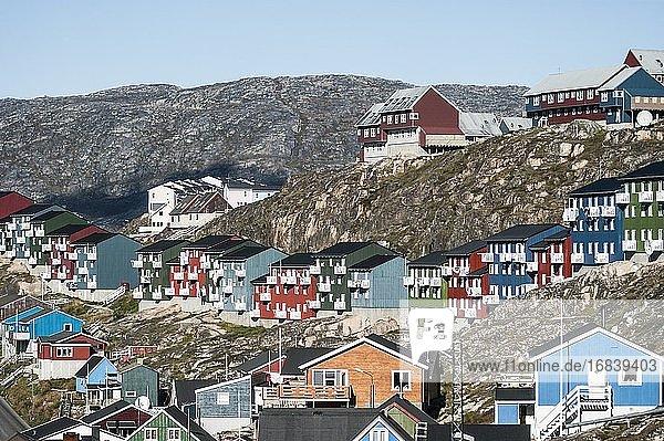 The colorful houses of Qaqortoq. Townscape. Qaqortoq  Greenland.