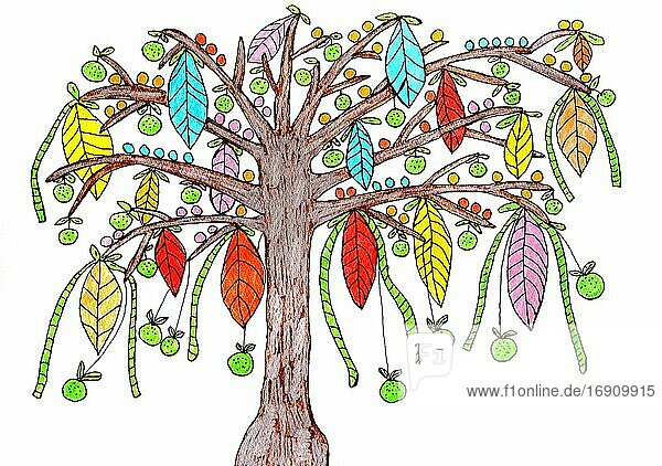 Painted tree with colorful leaves and apples  naive painting  white background