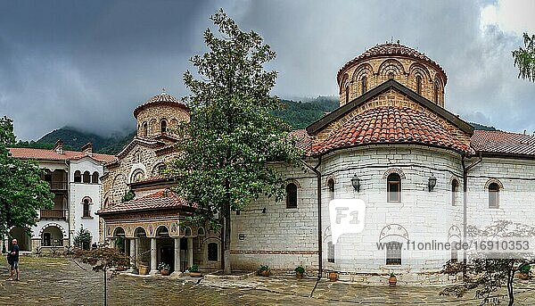 Asenovgrad  Bulgaria 24. 07. 2019. The Cathedral Church of the Virgin Mary in the Bachkovo Monastery of the Dormition of the Theotokos or Assumption of holy virgin in southern Bulgaria  on a cloudy summer day.