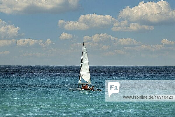 Sailing catamaran at a resort in Riviera Maya  Mexico.