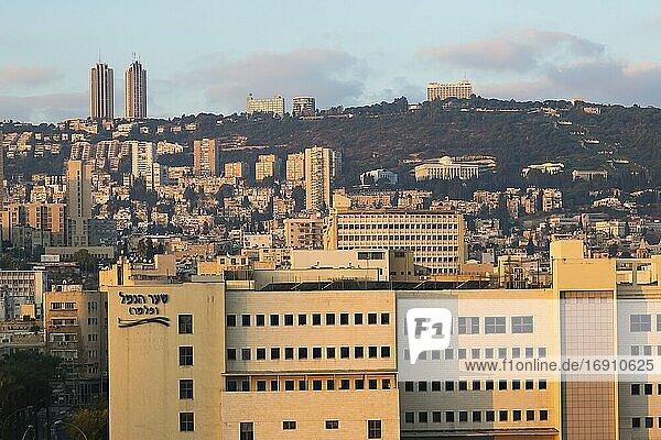 Haifa skyline at sunrise  Israel.
