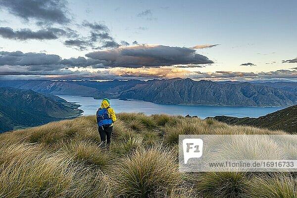 Wanderin blickt in die Ferne  Blick auf Lake Hawea bei Sonnenuntergang  See und Berglandschaft  Ausblick vom Isthmus Peak  Wanaka  Otago  Südinsel  Neuseeland  Ozeanien