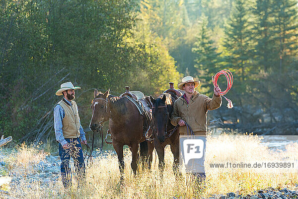 Cowboys and horses  British Colombia  Canada.