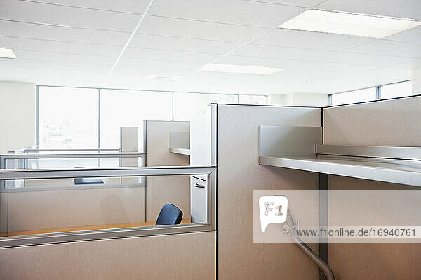 Office cubicles and chairs.