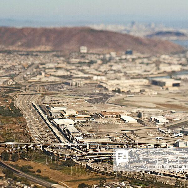 Airport with urban sprawl beyond.