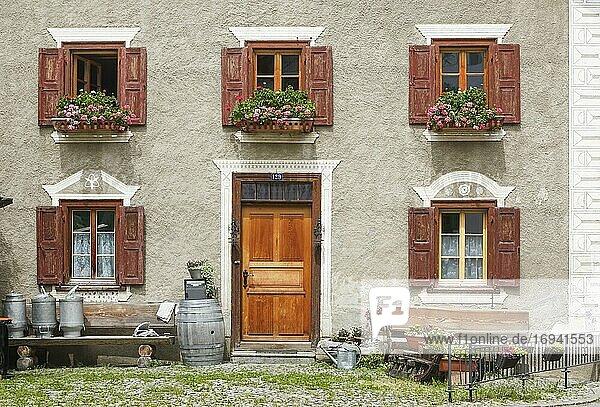 Altes Bündner Steinhaus  Bergün  Schweiz  Europa