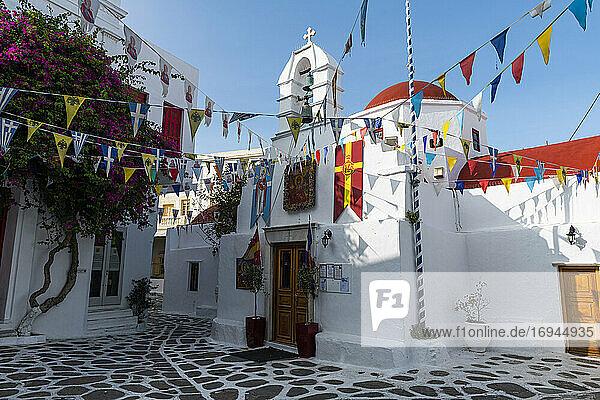 Die weiß getünchte Altstadt von Horta  Mykonos  Kykladen  Griechische Inseln  Griechenland  Europa