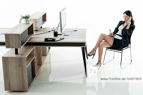 Call business lady in the office