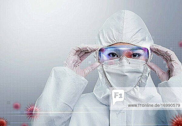 Young female doctor wear protective clothing