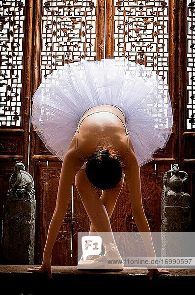 The young woman in front of the Chinese classical dance ballet