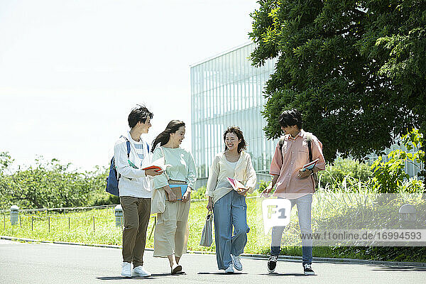 Japanese university students at the campus