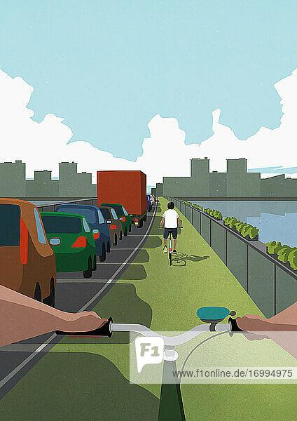 POV-Fahrräder auf der grünen Spur überholen Autos im städtischen Stau