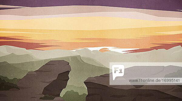 Scenic majestätischen Berglandschaft Blick bei Sonnenuntergang