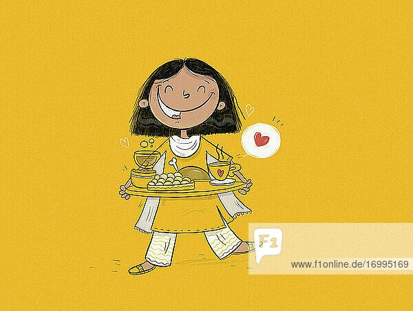 Glückliches indisches Mädchen mit Tablett mit Essen