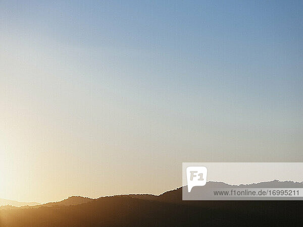 Tranquil blue sunset sky over silhouetted hills  Tanneron  French Riviera  France