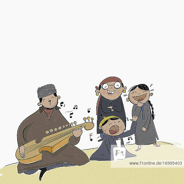 Family playing rubab and singing