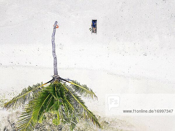 Maldives  Kaafu Atoll  Aerial view of man relaxing in deck chair on sandy coastal beach of Huraa island