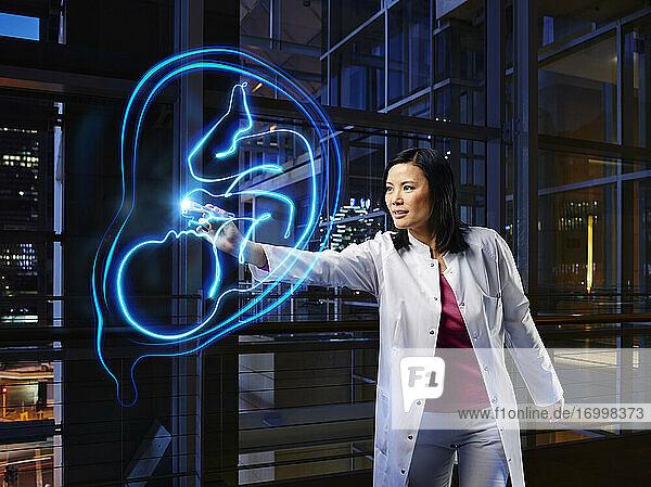 Female gynecologist examining uterus in laboratory at hospital