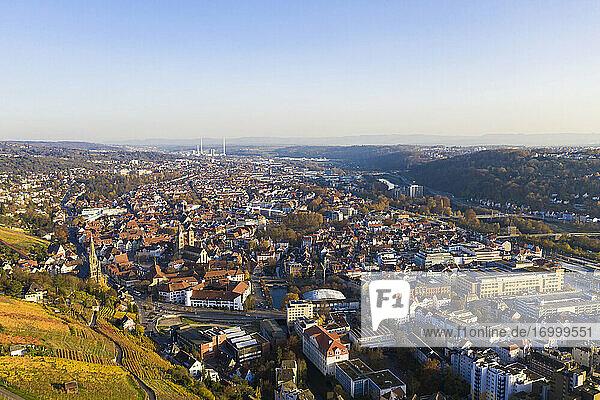 Germany  Baden-Wurtttemberg  Esslingen  Vineyards and town  aerial view