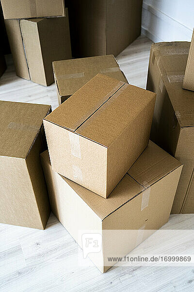 Stack of cardboard boxes at new house
