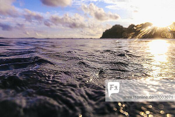 Waters of Arabian Sea at sunset
