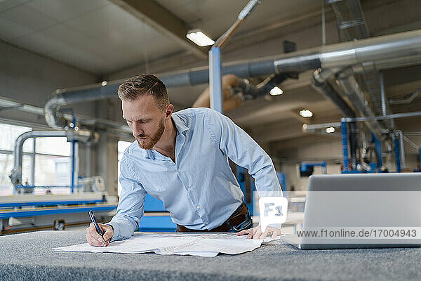Portrait of carpenter examining documents in production hall