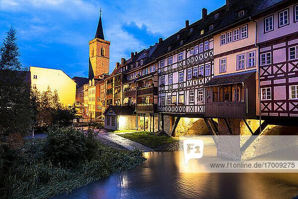 Germany  Erfurt  Karmerbrucke and St Giles church on Gera river at dusk