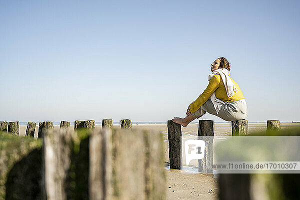 Mature woman sitting on wooden post at beach against clear sky