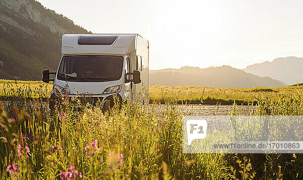 Camper van parked at Col des Aravis  Haute-Savoie on sunny day  France